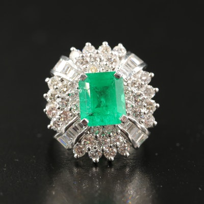 14K 2.95 CT Emerald and 2.12 CTW Diamond Ring with GIA Report