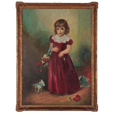 """Alice Schille Portrait Oil Painting """"Dinah,"""" 1943"""