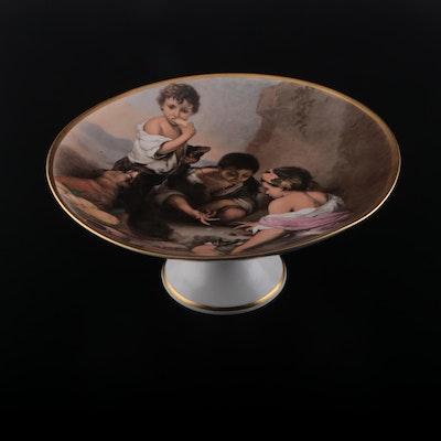 "Josef Kuba ""Boys Playing Dice"" After Murillo Porcelain Tazza, Mid-20th Century"