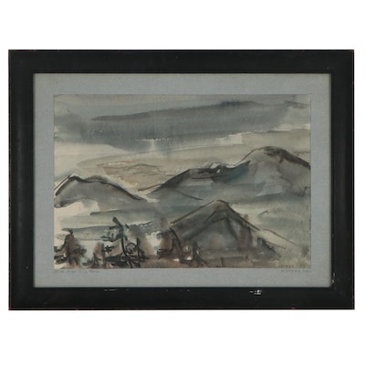 """Abstract Landscape Watercolor Painting """"North from Pico Peak,"""" 1951"""