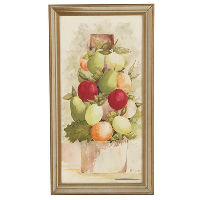 G. Losey Fruit Still Life Watercolor Painting, Late 20th Century