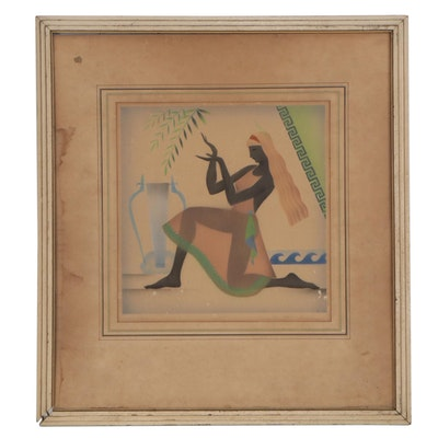 """Abstract Figural Pastel Drawing """"Dancer,"""" Mid-20th Century"""