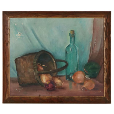 Virginia Harley Still Life Oil Painting of Vegetables, Late 20th Century