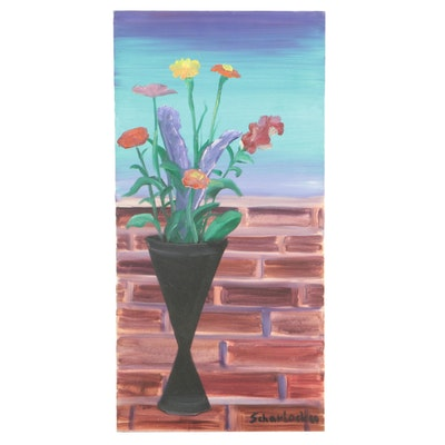 Jon Scharlock Floral Oil Painting, 2000