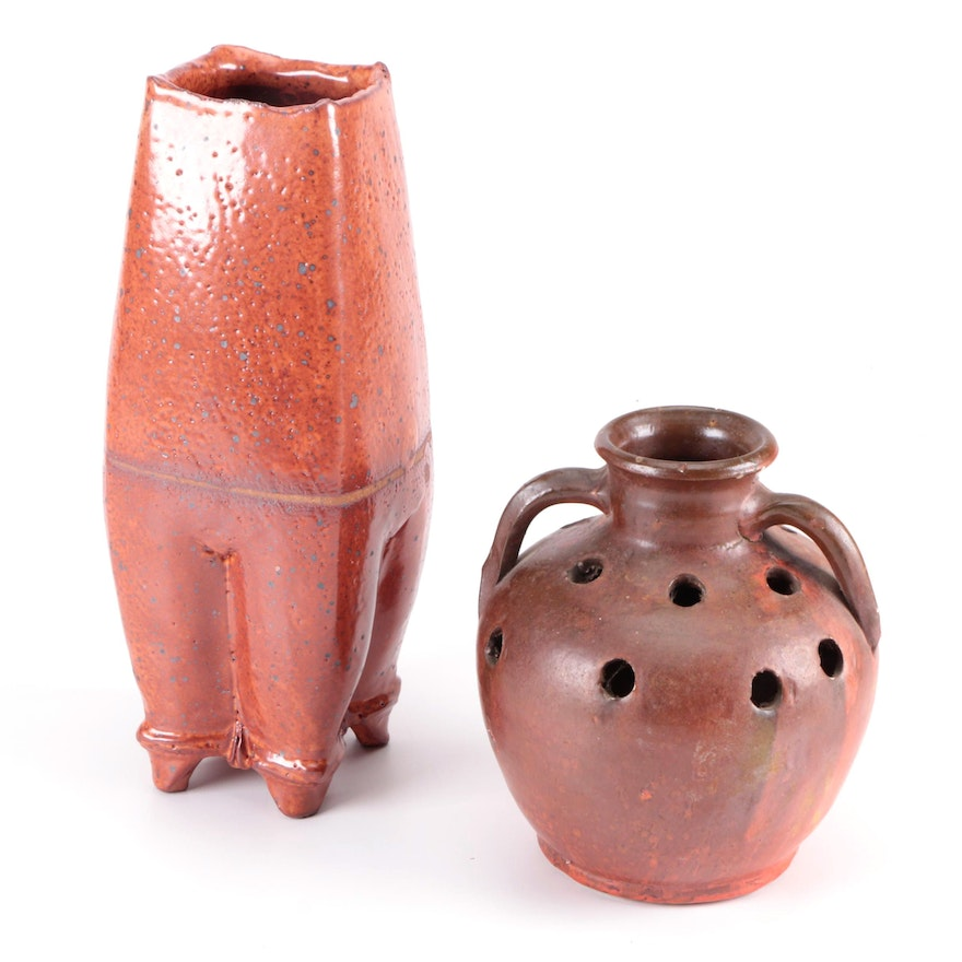 Hand Thrown Ceramic Planter and Footed Vase