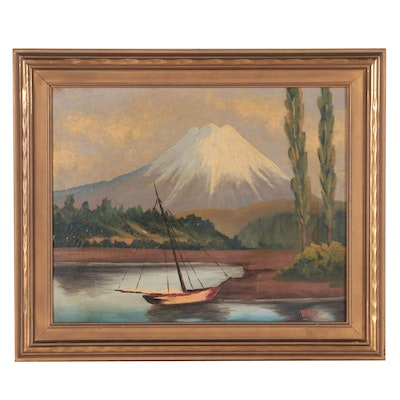 W. Polloni Mountainside Oil Painting, Mid-20th Century