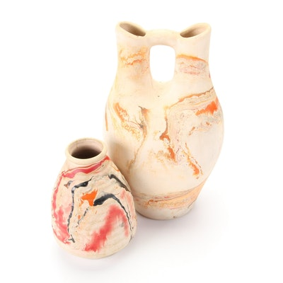 Nemadji Pottery Wedding Vase and Bud Vase
