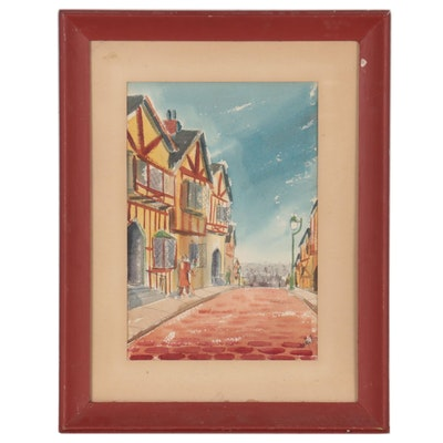 Jan Weigel Cityscape Watercolor Painting, 1953