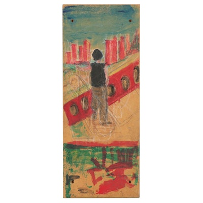 Abstract Mixed Media Painting of Cityscape, Late 20th Century