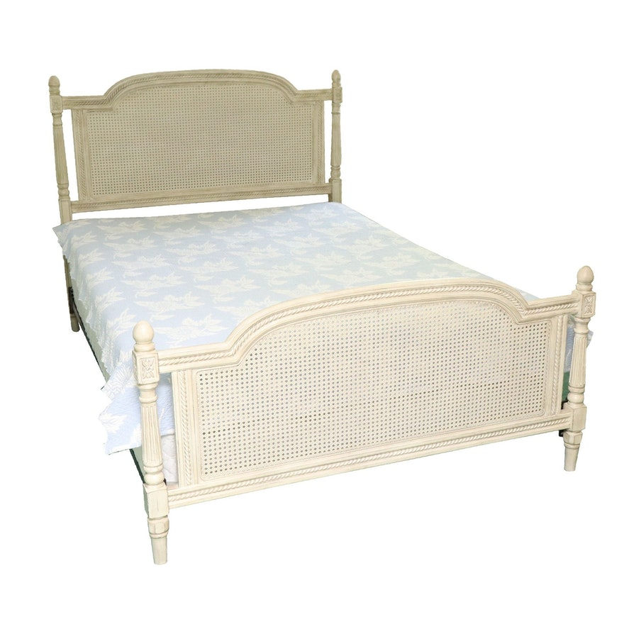Louis XVI Style Painted Wood and Cane Full Size Bed Frame