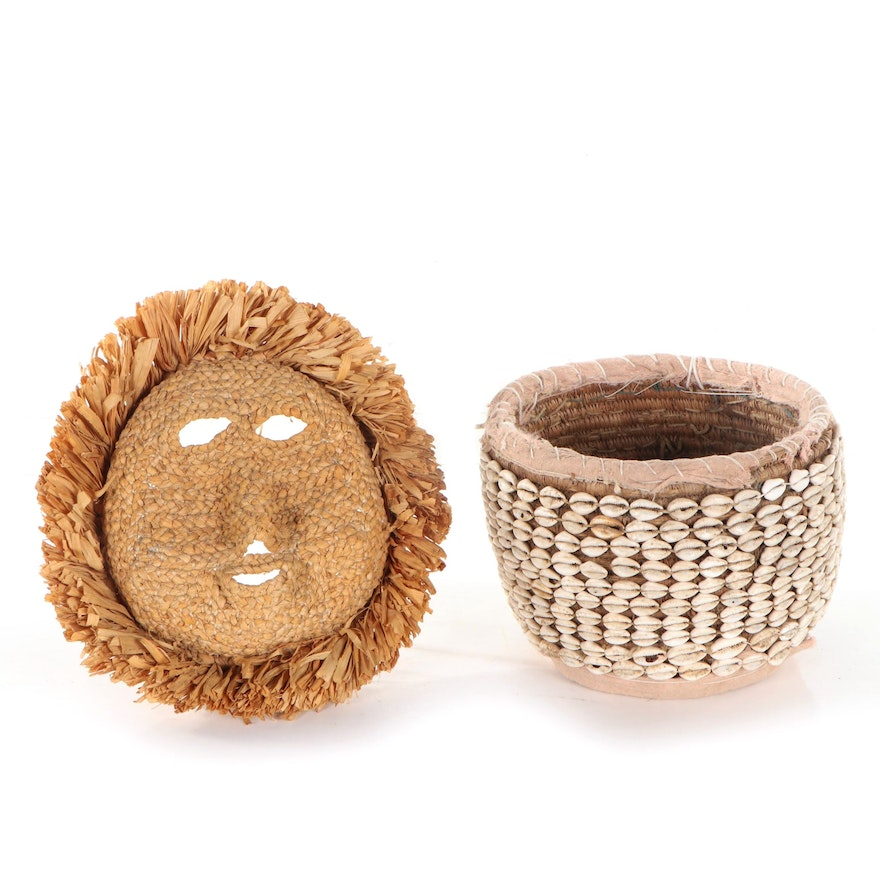 African Cowrie Shell Basket and Iroquois Corn Husk Mask