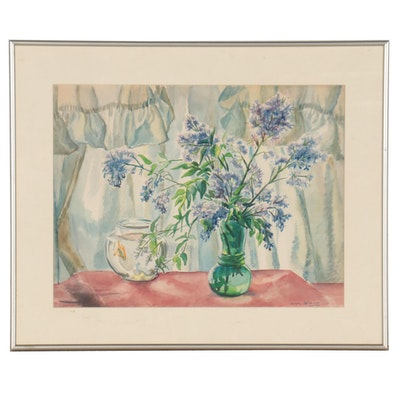 Dorothy Cervantes Floral Still Life Watercolor Painting, 1953