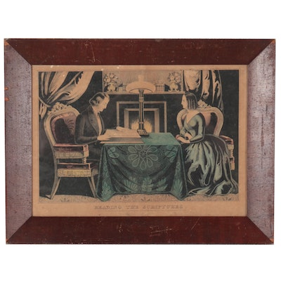 """Currier and Ives Hand-Colored Lithographs """"Reading the Scriptures"""""""
