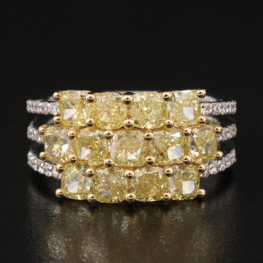 18K Triple Row 3.69 CTW Diamond Ring with GIA Colored Diamond Report