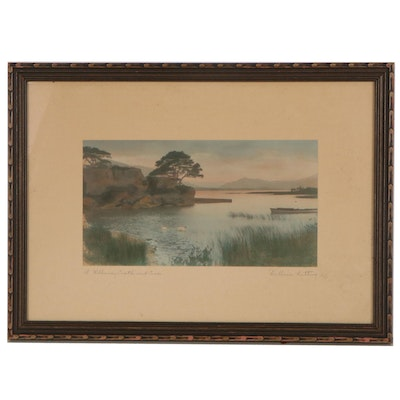 """Wallace Nutting Hand-Colored Photograph """"A Killarney Castle and Cove"""""""