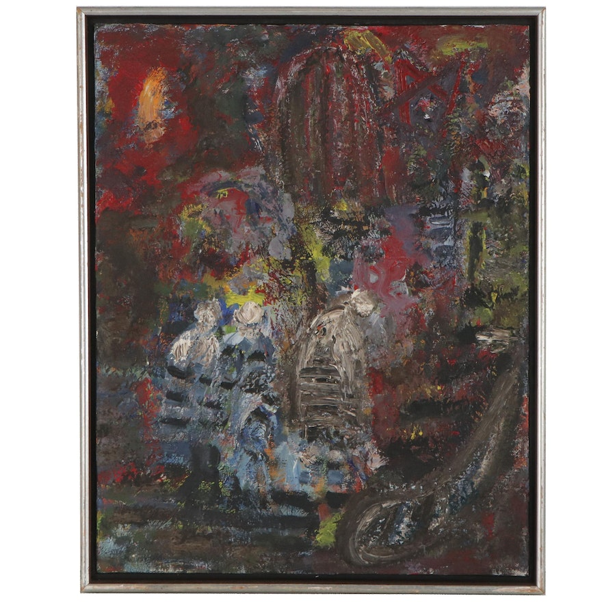 Abstract Figural Oil Painting, Mid-20th Century
