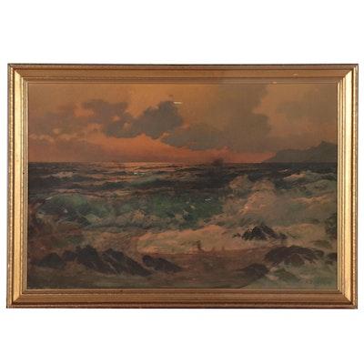 """Offset Lithograph After Alexander A. Dzigurski """"Emerald Sea"""""""