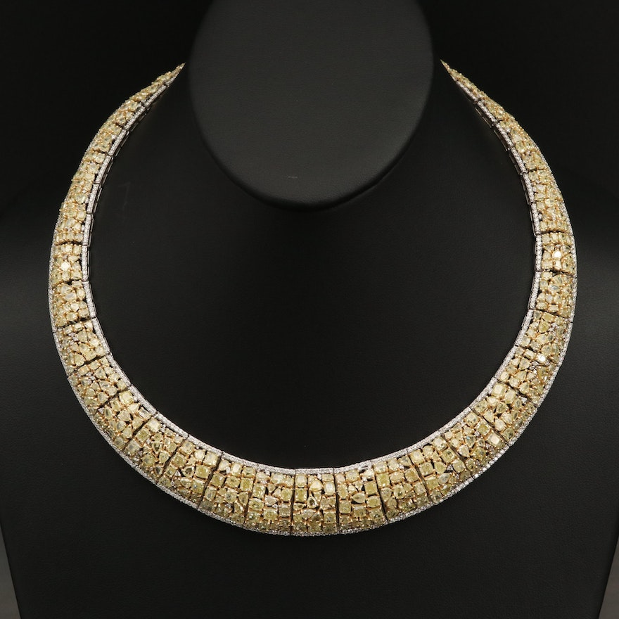 18K 68.97 CTW Diamond Necklace with GIA Report