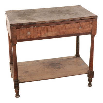 American Primitive Tiger Maple Work Table, 19th Century