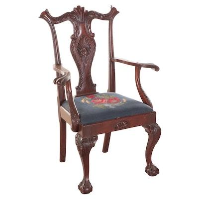 John Ragatz & Son Replica Chippendale Style Mahogany Armchair, Late 19th C.