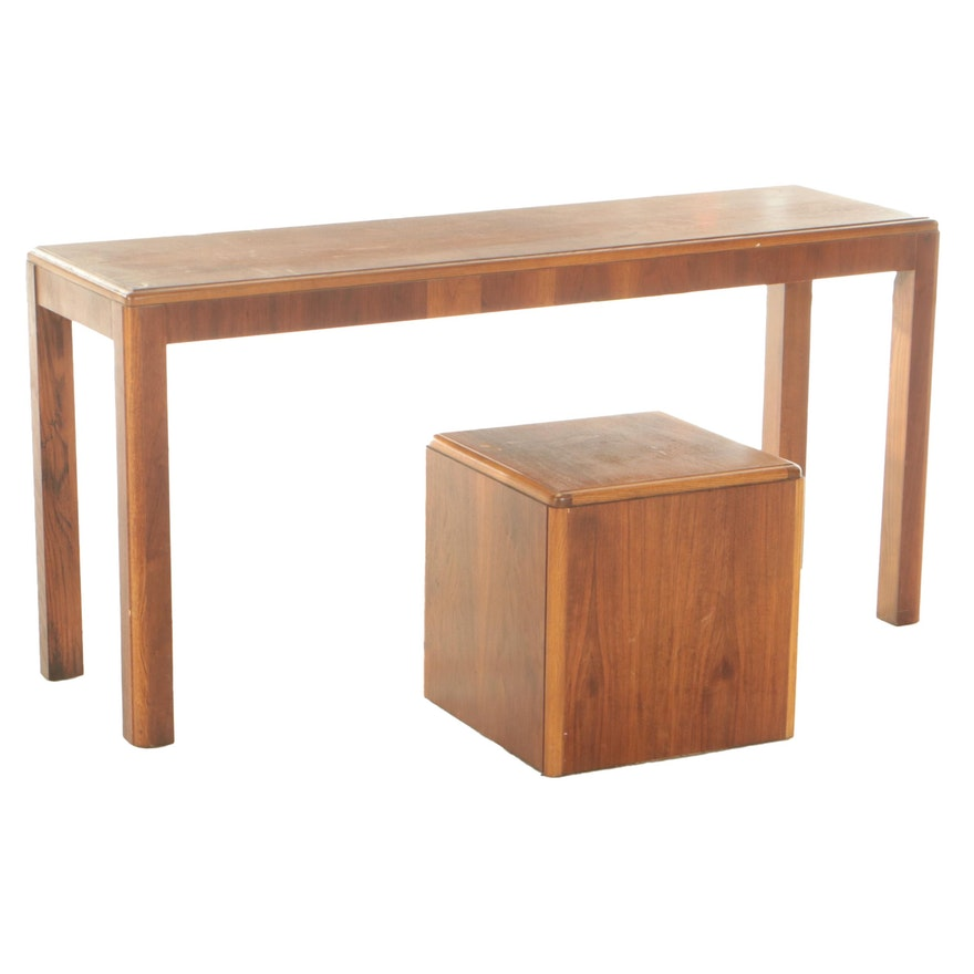 Lane Mid Century Modern Teak Parsons Style Sofa Table and Cube End Table