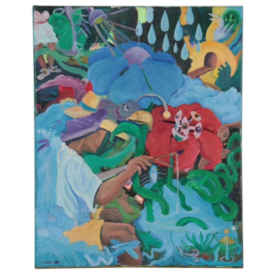 TC Thomason Surreal Acrylic Painting of Figures, Creatures, and Eyeballs