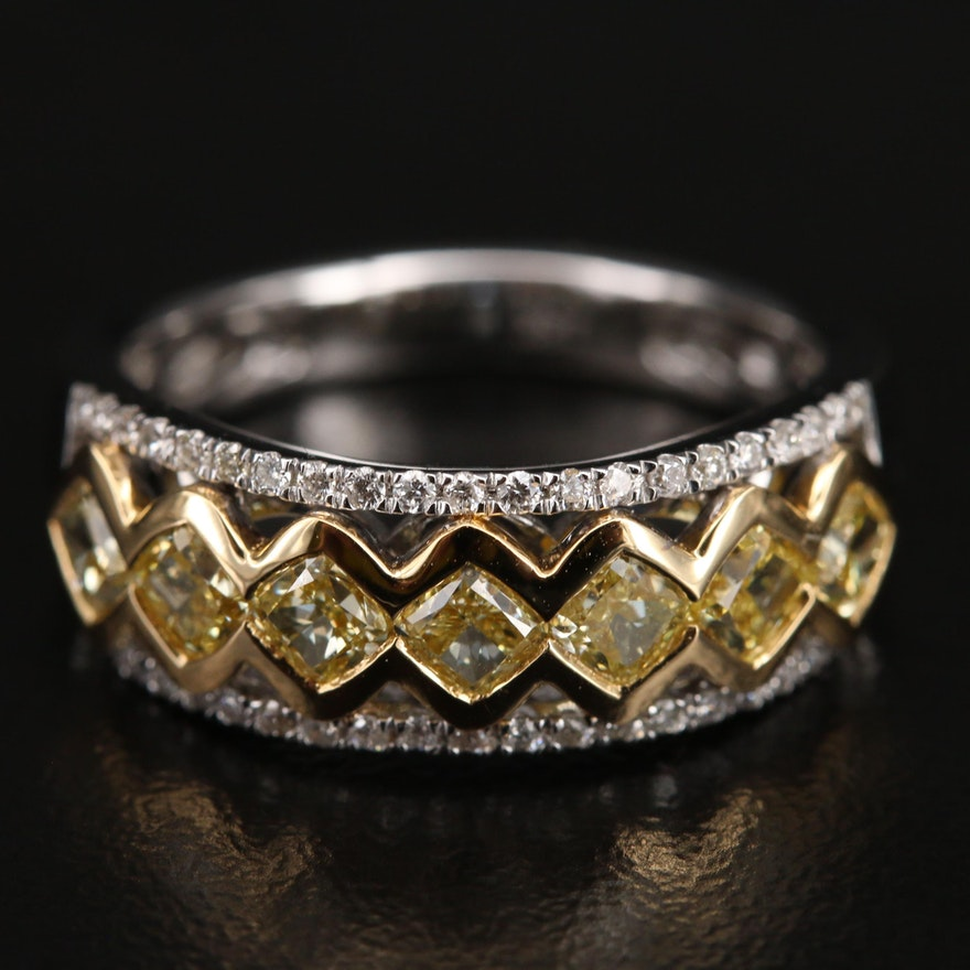 18K 1.55 CTW Diamond Ring with GIA Natural Colored Diamond Report