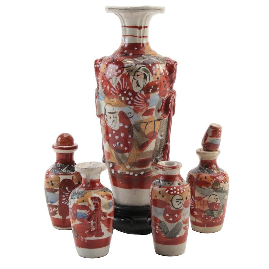 Japanese Kutani Ceramic Vases and Bottles