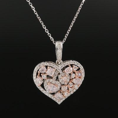 Italian 18K 1.76 CTW Diamond Heart Pendant Necklace