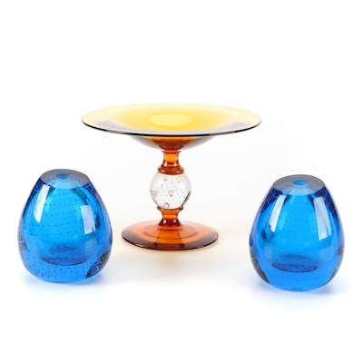 Controlled Bubble Glass Ball Tazza and Bud Vases
