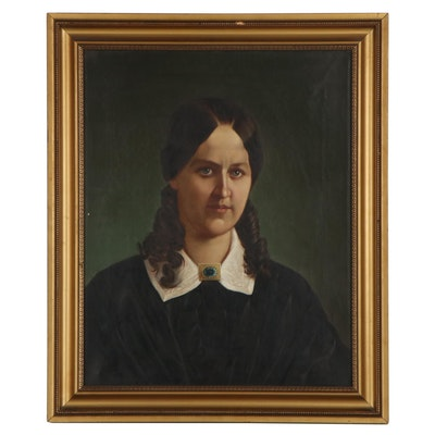 John N. Glogger Portrait Oil Painting of Woman, Circa 1860