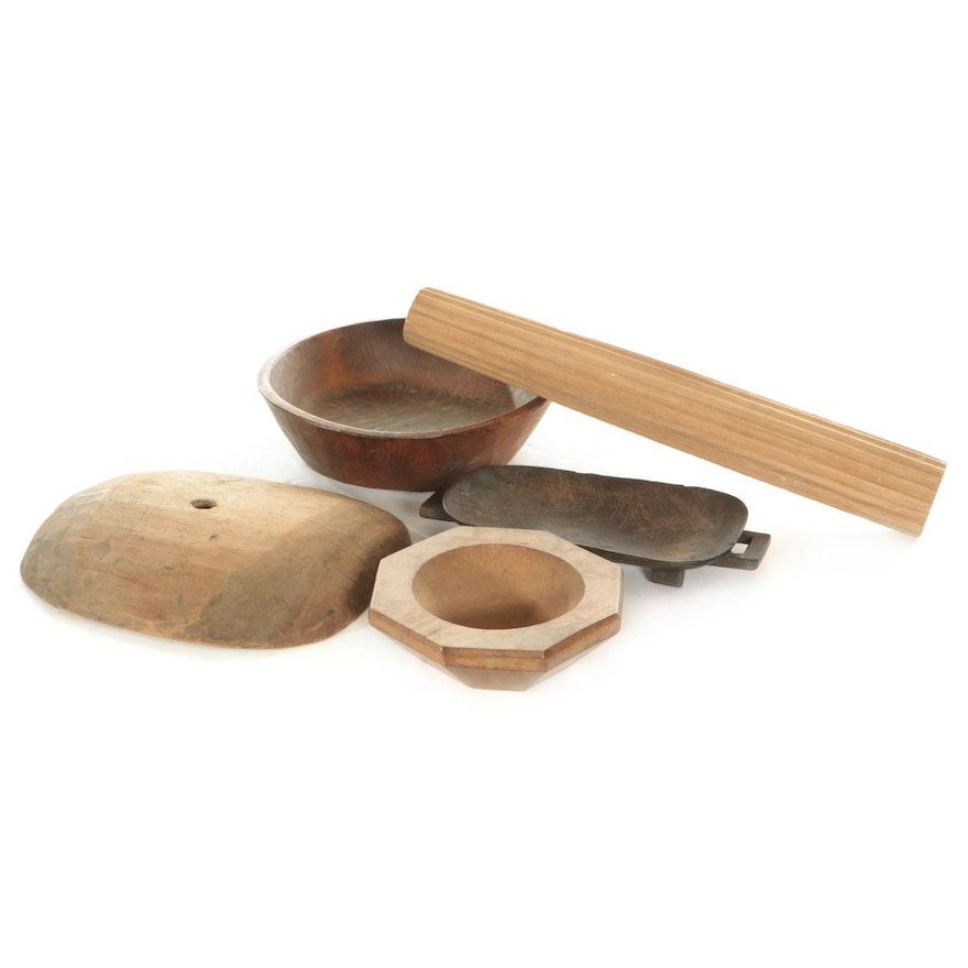 Primitive Wood Dough Bowls and Other Decor