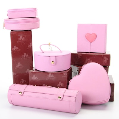 Rowallan Pink Bonded Leather Travel Jewelry Boxes