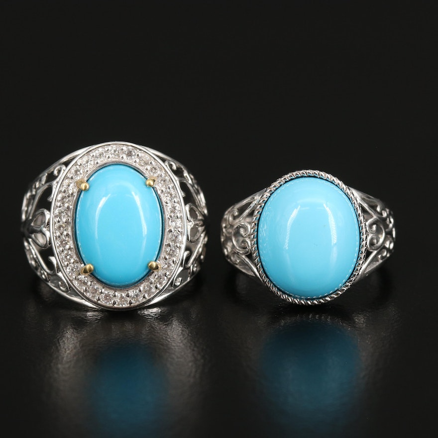 Sterling Faux Turquoise and Zircon Rings with Openwork Shoulders