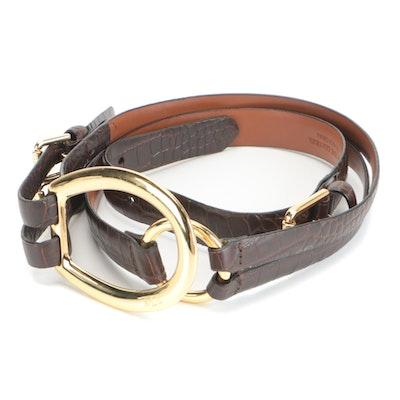 Lauren Ralph Lauren Belt in Brown Croc-Embossed Leather