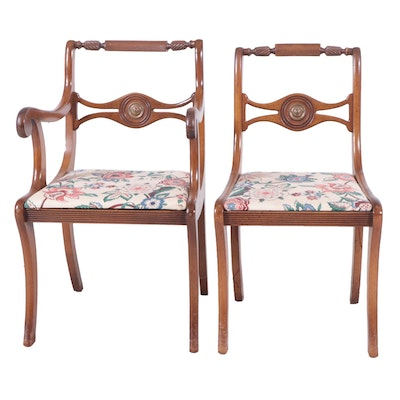 Empire Style Walnut Upholstered Dining Chairs, Mid to Late 20th Century