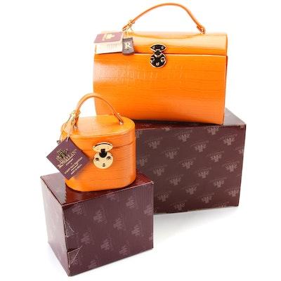 Rowallan Orange Crocodile Embossed Bonded Leather Travel Jewelry Cases