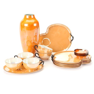 Noritake Peach Luster Porcelain Snack Sets with Other Vase and Dishes