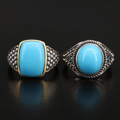 Sterling Rings Including Faux Turquoise and Topaz
