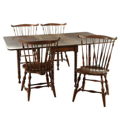 Drop-Leaf Dining Table with Bobbin Legs and Brace-Back Windsor Side Chairs