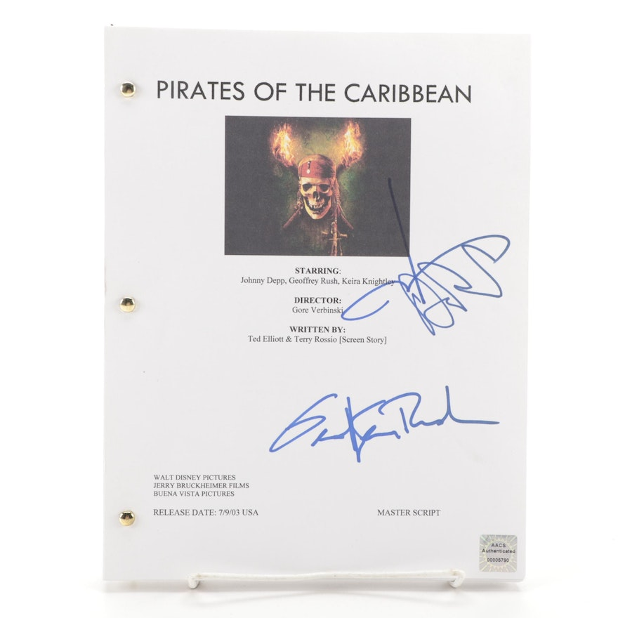 """Johnny Depp and Geoffrey Rush Signed """"Pirates of the Caribbean"""" Script Copy"""