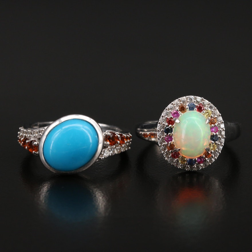 Sterling Opal, Sapphire and Gemstone Rings