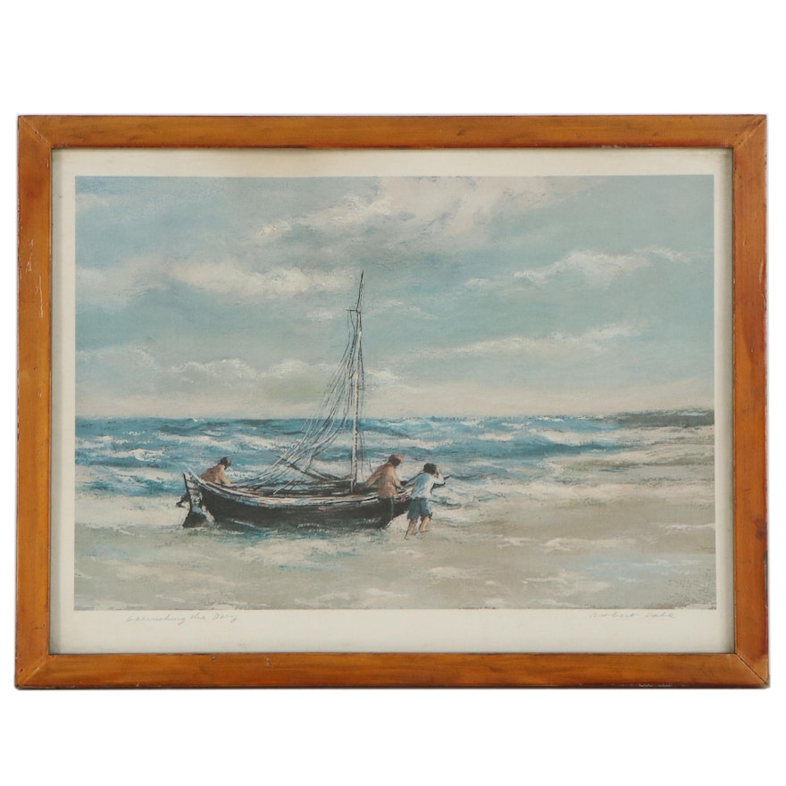 """Robert Fabe Offset Lithograph """"Launching The Dory"""""""