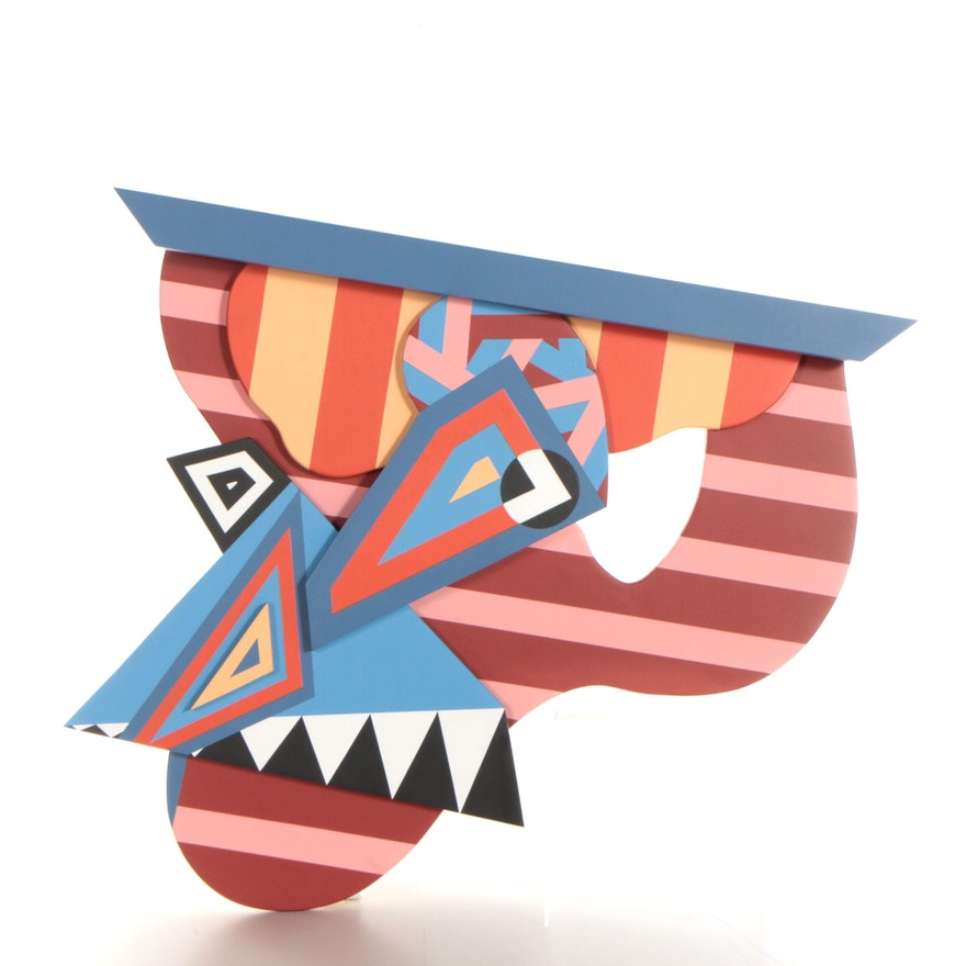 Chase Melendez Abstract Painted Wood Sculpture, 2021
