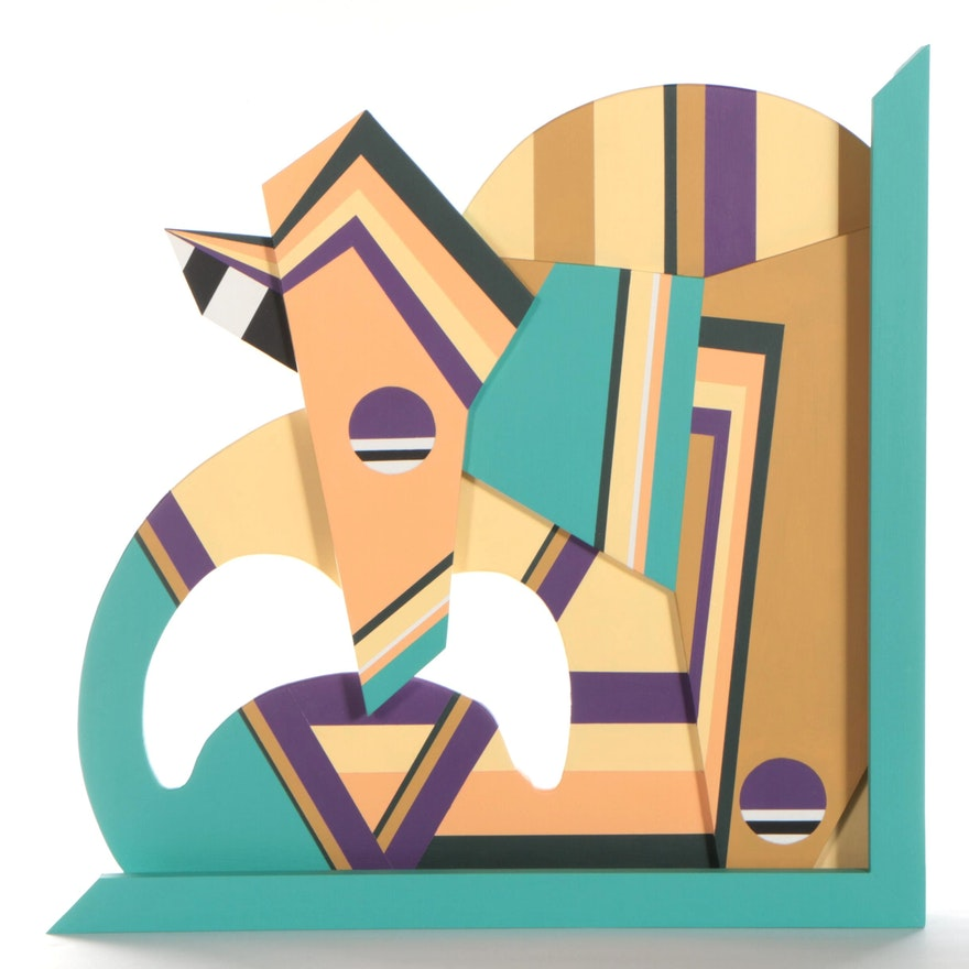 """Chase Melendez Abstract Painted Wood Sculpture """"Untitled,"""" 2021"""