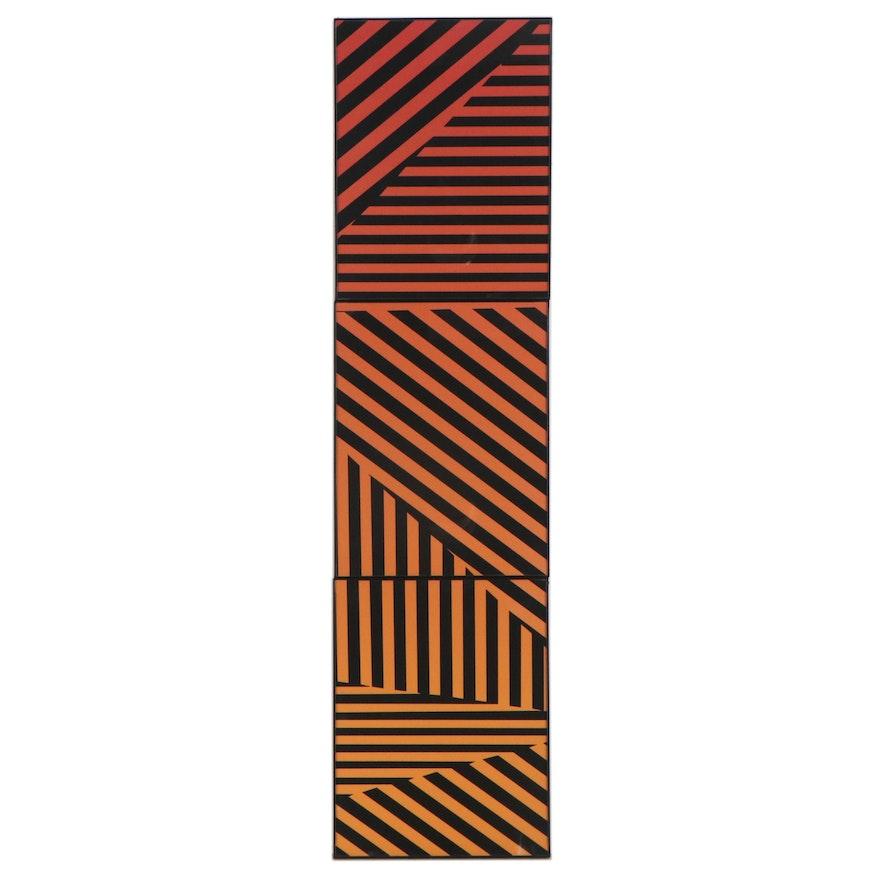 Lindz and Lamb Linear Op Art Giclée Triptych, 2021