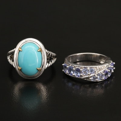 Sterling Silver Tanzanite and Faux Turquoise Rings