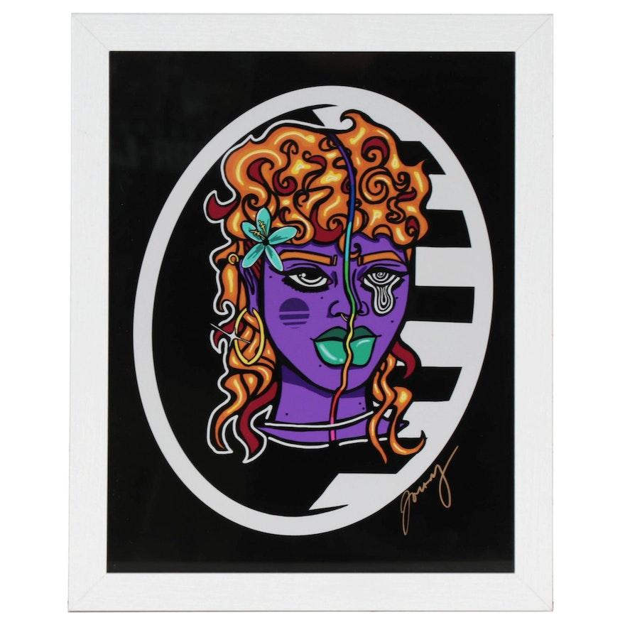 Jonesy Giclée of Abstract Portrait, 21st Century