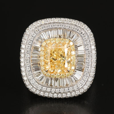 18K 5.06 CTW Diamond Converter Ring with GIA Online Report