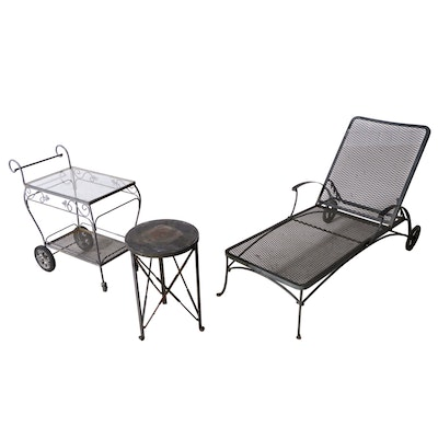 Black Steel Mesh Bart Cart and Patio Chaise Lounge Chair